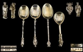 Edwardian Period - Fine Quality Pair of Hanau Silver Apostle Anointing Spoons,