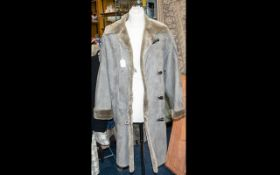 Nicole Farhi Grey Suede Ladies Coat - Full length with shearling lining. As new size 10.