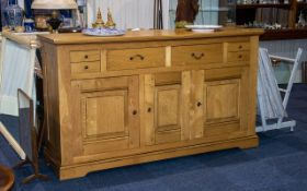A Large French Oak Contemporary Light Oak Sideboard made in the traditional style pegged and