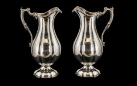 Pair Of Elkington & Co Silver Plated Water Jugs Scroll Handle, Moulded Edge,