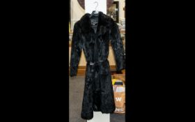 Vintage Coney Full Length Black Coat with leather tie belt,