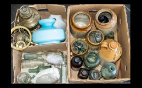 Two Boxes of Glass and Stoneware, to contain Stoneware Jars, antique glass bottles, oil lamp, etc.