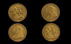 Queen Victoria 22ct Gold Full Sovereigns ( Bullion Coins ) Dates 1900 - 1894.