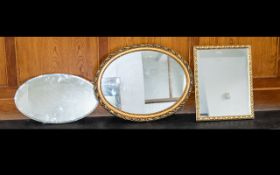 A Collection of Four Framed Mirrors, including two gilt and one 1950's mirror with bevelled glass.