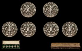 French - Early 20th Century Set of Six White Metal Diamond Set Round Buttons Each with Figural