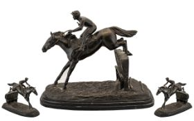 20 Century - Large and Impressive Reproduction Bronze Figure/Sculpture of a Jockey and Race Horse