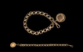Antique Period - Nice Quality 9ct Rose Gold Fancy / Ornate Link Bracelet with Attached 9ct Gold