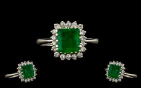 18ct White Gold Nice Quality and Attractive Emerald and Diamond Cluster Ring - flower head setting.