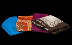 Collection of Vintage Designer Silk Scarves comprising: Jacqmar cobalt blue scarf with fine