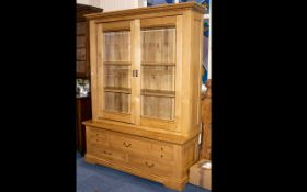 A Large French Oak Contemporary Light Oak Display Cabinet/Bookcase.