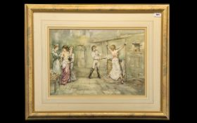 Francis Boxhall Watercolour depicting a scene of semi-clad ladies being whipped in a dungeon.