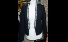 Michael Kors Short Black Evening Jacket - trimmed with crystal. As new. Size small.