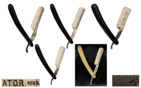 An Antique Period Collection of High Quality Hollow Ground Straight Razors ( 5 ) In Total. All In