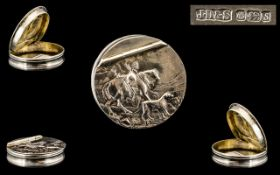 Elizabeth II Fine Circular Silver Pill Box with Embossed Figural Decoration to Cover In The Form of