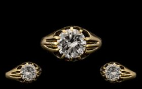 18ct Gold Stunning Quality Gents Single Stone Diamond Ring Gypsy Setting - the modern round