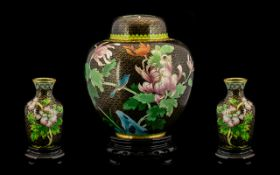 A Chinese Cloisonné Ginger Jar in a squat,