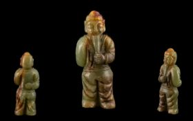 A Chinese Jadeite Stone Carved Figure. Height 5 inches.