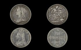 Queen Victoria - Old Head Silver Crown - Date 1895 & A Queen Victoria Silver Double Florin -