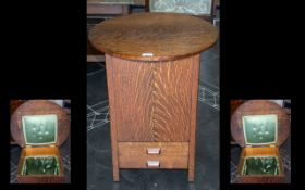 Early 20th Century Adapted Oak Case Sewing Box with circular top,
