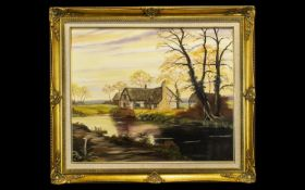 Large Oil Painting in Ornate Gilt Frame depicting a cottage on a river with trees in the background.
