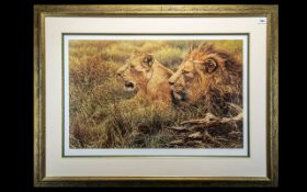 British Wildlife Artist Alan Hunt signed Print of Lions 'African Gold'.