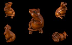 Japanese Netsuke In The Form Of A Standing Rat. Slight Damage To Foot. Height 2 Inches.