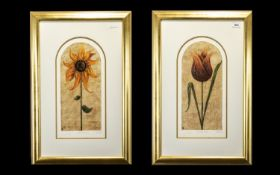 Two Kelly Jane Limited Edition Signed Prints 'Treasured Tulip' 219/750and 'Secret Sunflower' 219/