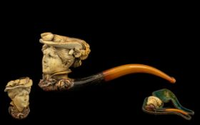 Meerschaum and Amber Pipe, the bowl carved with the detailed head of a lady,