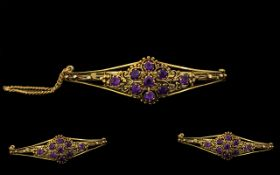 Antique Period Attractive 9ct Gold 'Tiara' - Amethyst Set Hinged Bangle with Attached Safety Chain.