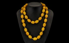 Early 20th Century Superb Quality Butterscotch Amber Bakelite Beaded Necklace of wonderful colour
