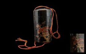 Antique 19thC Japanese Four Case Inro, Lacquered Dragon And Foliage Decoration, Odd Chips To Edge.