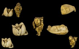 Japanese Late 19thC Trio of Carved Ivory Bone Netsukes including Jonah and the Whale netsuke 2