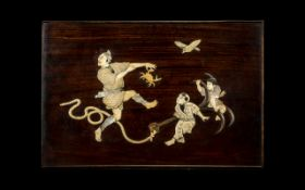 Japanese - Good Quality Meiji Period 1864 - 1912 Shibiyana Wall Plaque with Comical Scene Depicts -