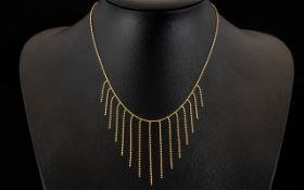 Ladies 9ct Gold Attractive Tassel Drop Necklace of Pleasing Design. Marked for 9ct Gold. Approx 4.