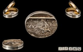 Elizabeth II Fine - Oval Shaped Silver Pill Box with Embossed Figural Decoration to Cover,