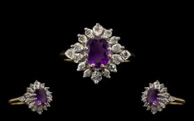 Ladies 9ct Gold Attractive Amethyst and Diamond Set Cluster Ring Flower Head Design - the central