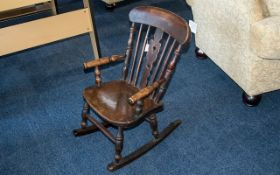 Early 20th Century Yew Wood And Elm Childs Rocking Chair, Height 25 Inches,