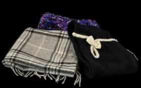 Collection of Winter Scarves comprising: Alice Hannah vintage style lambswool and angora scarf in