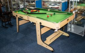 A J and R Table Sports Snooker and Pool Table, Includes 2 cues, triangles and scoring board.