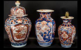 A Collection of Three Japanese Imari Vases all of typical form, one lidded, one converted into a