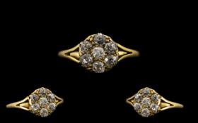 Antique Period 18ct Gold Superb Quality & Attractive Diamond Set Cluster Ring.