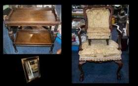 Small Collection of Vintage Furniture to include an oak drinks trolley with a lower shelf,