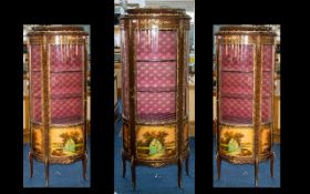 A French Mid 20thC Style Bow Fronted Cabinet with a silk lined interior with two glass shelves.