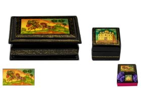 Two Authentic Russian Boxes comprising 1. Hand Painted Oblong Russian Lacquer Table Box Featuring '