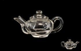 19thC Chinese Rock Crystal Teapot, Unmarked Of Plain Form, Height 2.5 Inches, Length 4.