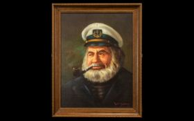 Lee Young 1914 - 1988 Signed Oil on Board - Titled ' Old Ships Captain ' Signed to Lower Right. 16.