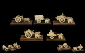 A Collection of Chinese Early 20thC Carved Ivory-Bone Miniature Figure Group - 5 in total.