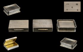 Elizabeth II Fine Quality Trio of Heavy and Solid Silver Pill Boxes. All with Gilt Interiors.