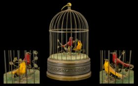 Victorian Period Good Quality Brass Bird Cage/Automation Musical Box with two birds singing and