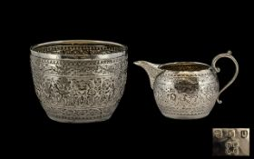 Scotish Sterling Silver 19th Century Anglo Indian Ornate Matching Milk Jug And Sugar Bowl Of